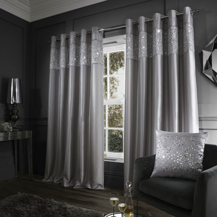 Glitzy Sequin Fully Lined Eyelet Curtains Silver