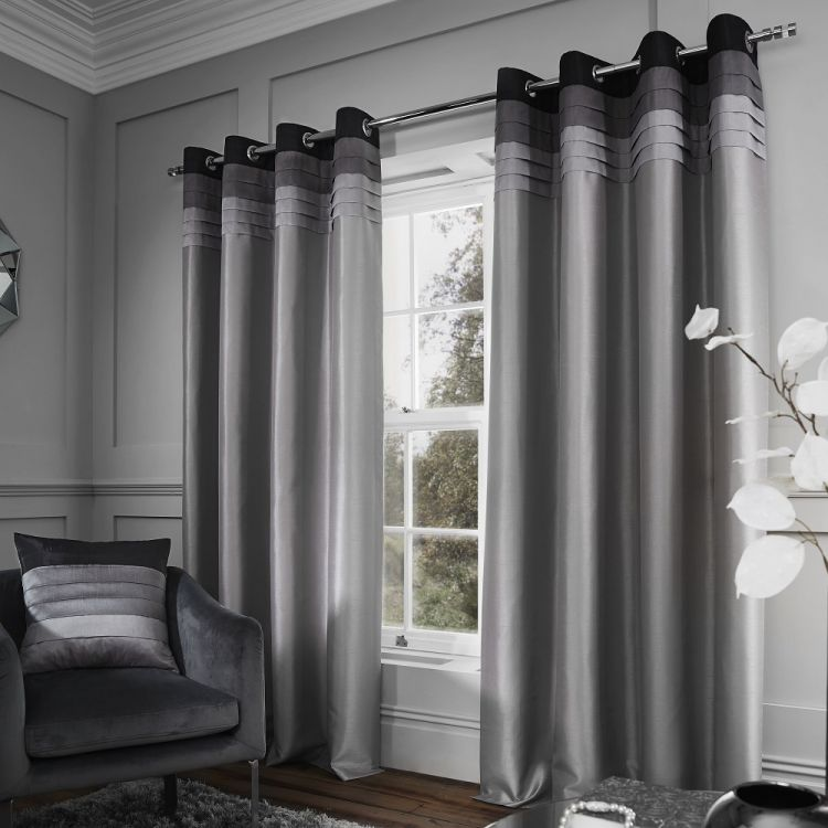 Chicago Faux Silk Lined Eyelet Curtains Grey