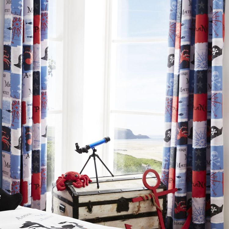 Catherine Lansfield Pirate Ship Fully Lined Eyelet Curtains