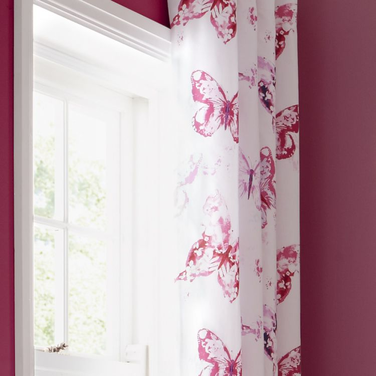 Butterfly Pink Lined Eyelet Curtains Tonys Textiles