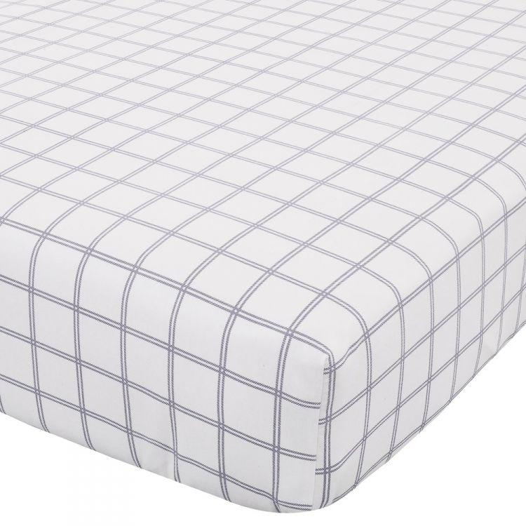 tartan check navy flannelette fitted sheet tonys. Black Bedroom Furniture Sets. Home Design Ideas