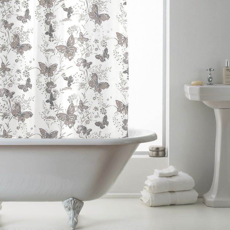 Butterfly Peva Shower Curtain Grey Tonys Textiles
