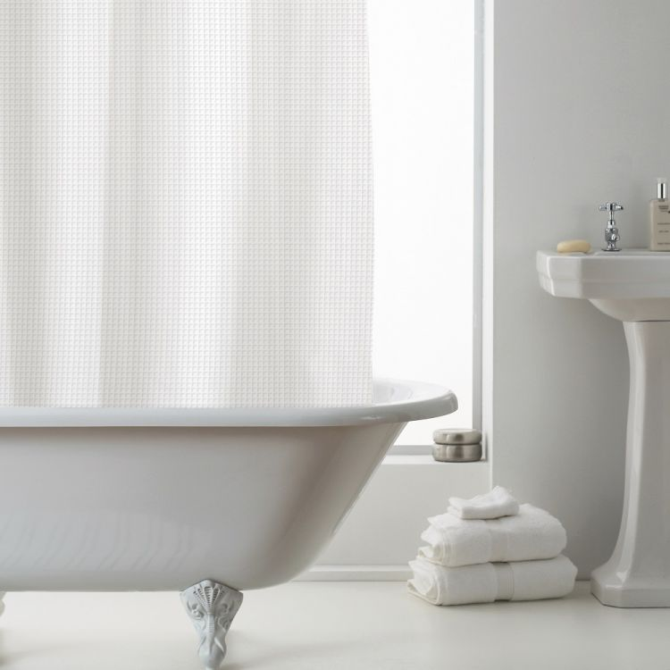 Waffle Shower Curtain Liner White Tonys Textiles