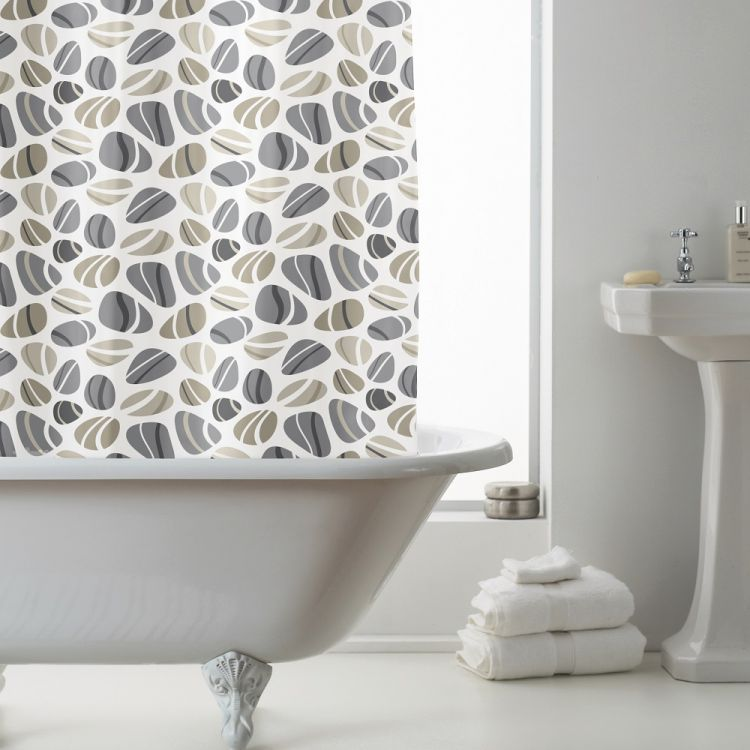 Pebbles Peva Shower Curtain Grey Taupe Tonys Textiles