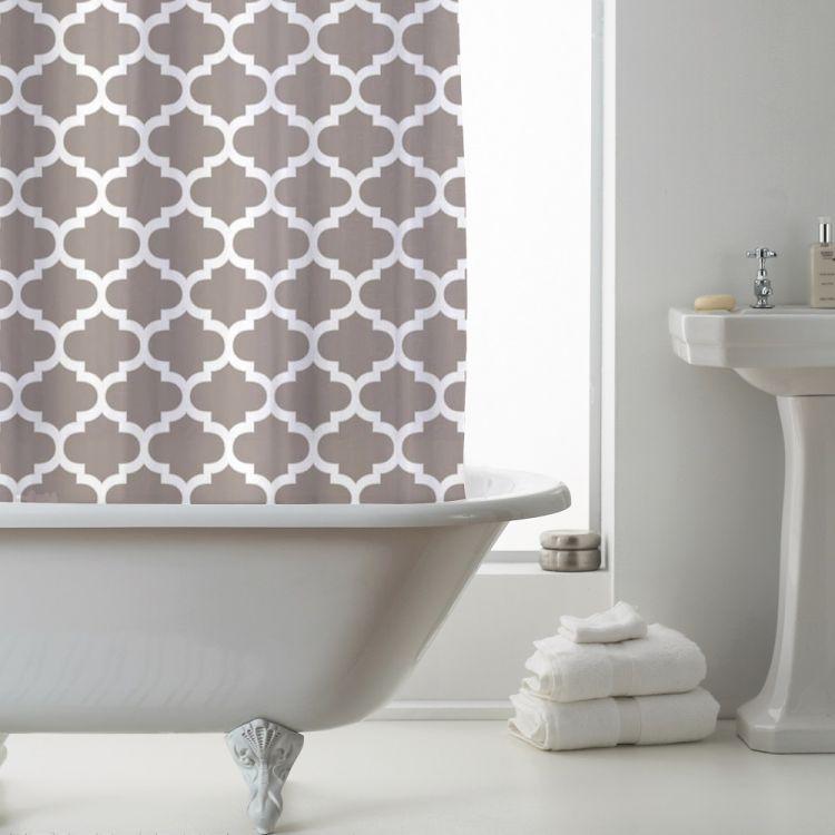 Geometric Peva Shower Curtain Mink Tonys Textiles