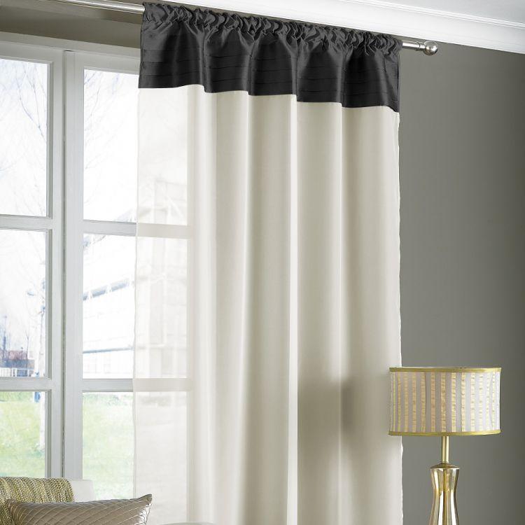 Opal Pleats Voile Slot Top Curtain Panel Black
