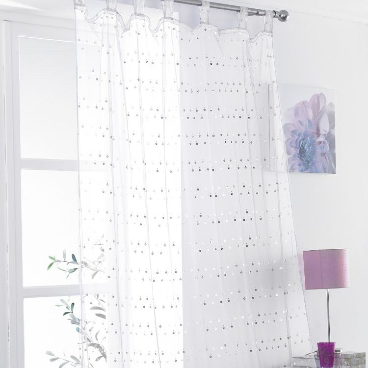 Daisy Sequin Tab Top Voile Curtain Panel White