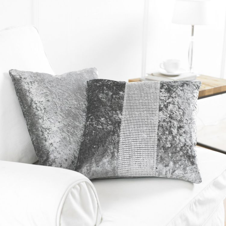 Diamante Sparkle Two Pack Cushion Covers Chocolate