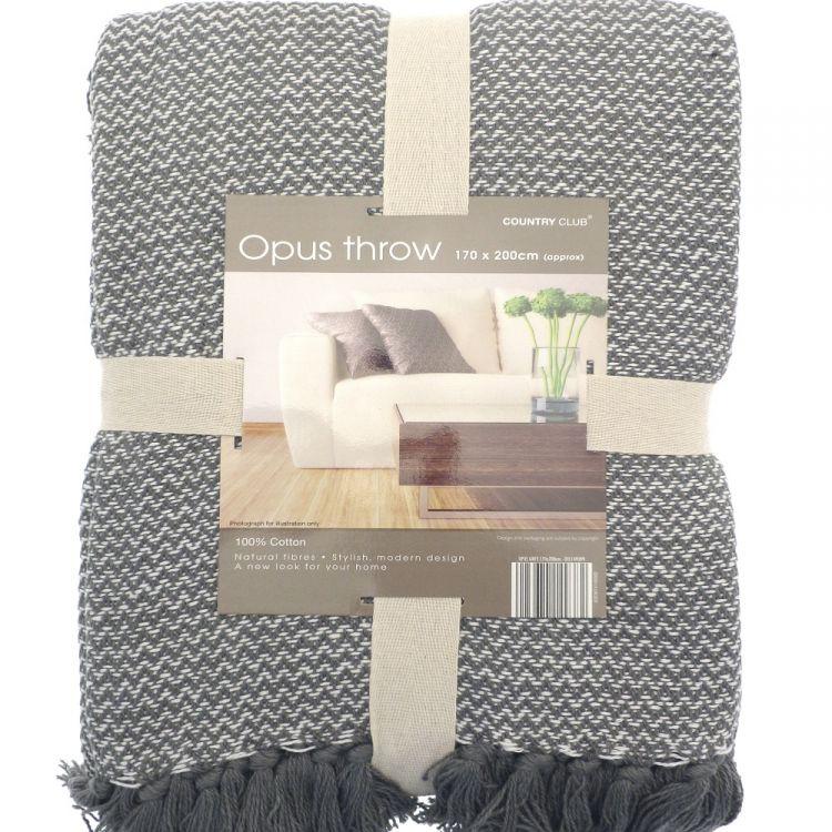 Opus Herringbone 100 Cotton Throw Grey Tonys Textiles