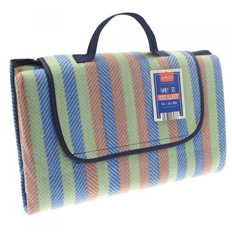 Multi Coloured Stripe Picnic Blanket Tonys Textiles