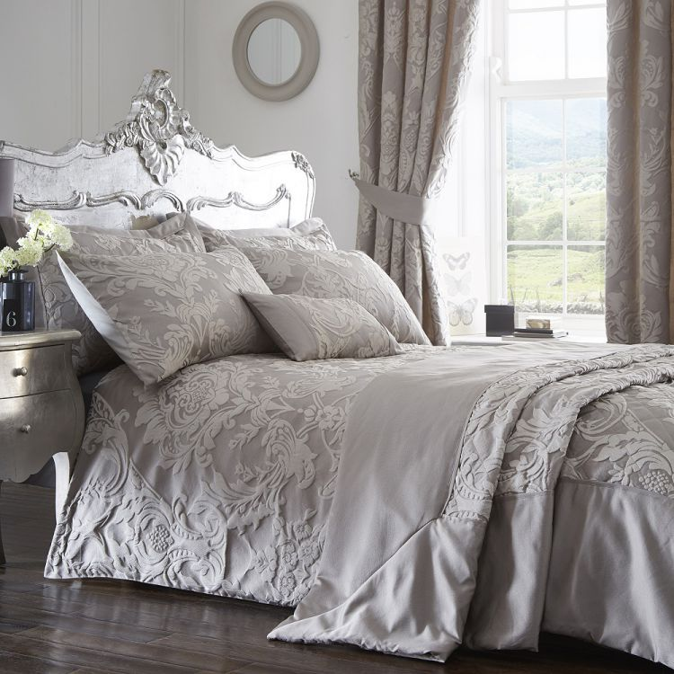 Luxury Howard Jacquard Duvet Cover Set Silver Grey