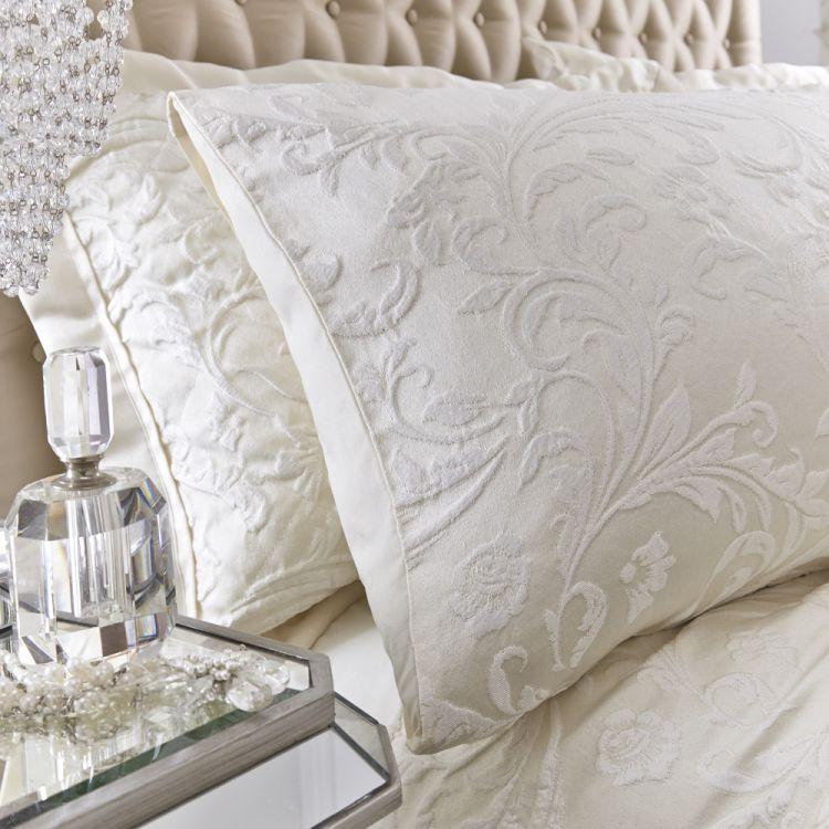 Luxury Spencer Jacquard Duvet Cover Set Ivory Cream