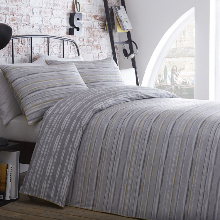 Carter Stripe 100 Cotton Duvet Cover Set Grey
