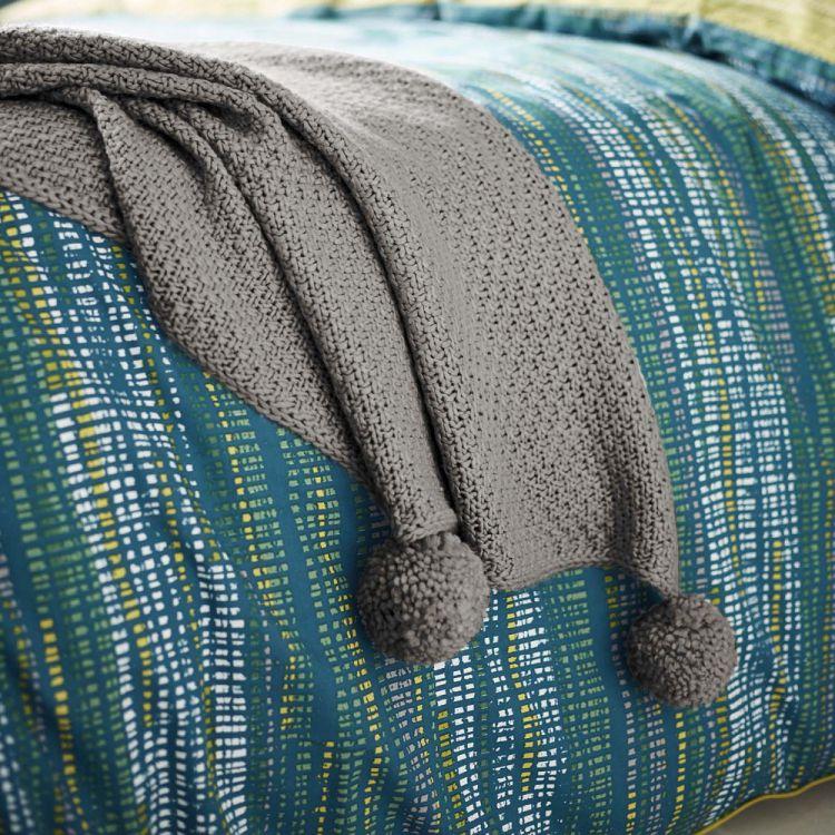 Sula Knitted Pom Pom Throw Grey Tonys Textiles