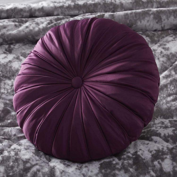 Astonishing Maiko Filled Round Cushion Plum Purple Tonys Textiles Theyellowbook Wood Chair Design Ideas Theyellowbookinfo
