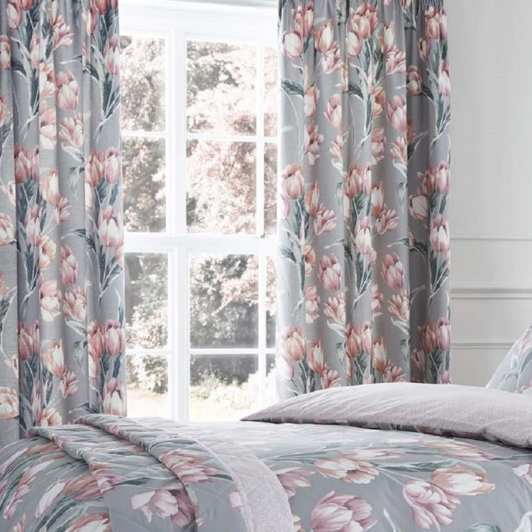 Tulip Floral Fully Lined Tape Top Curtains Blush
