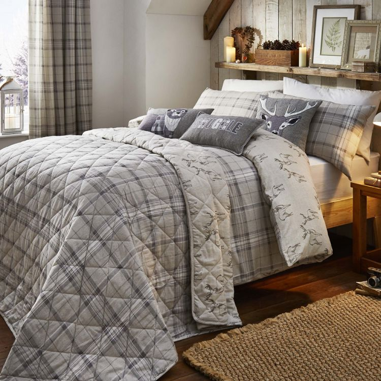 Ludlow Check Reversible Stag Duvet Cover Set Natural