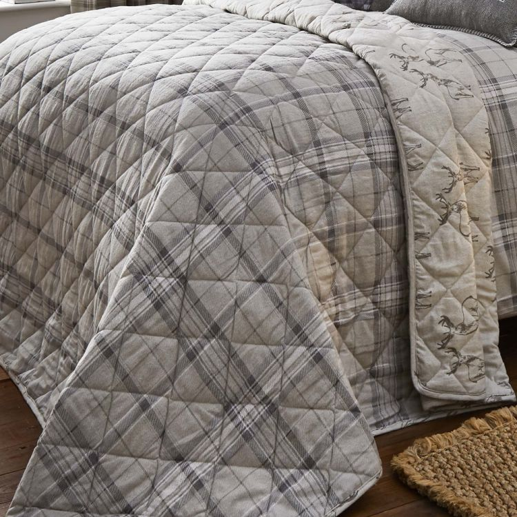 Ludlow Check Quilted Reversible Bedspread Natural