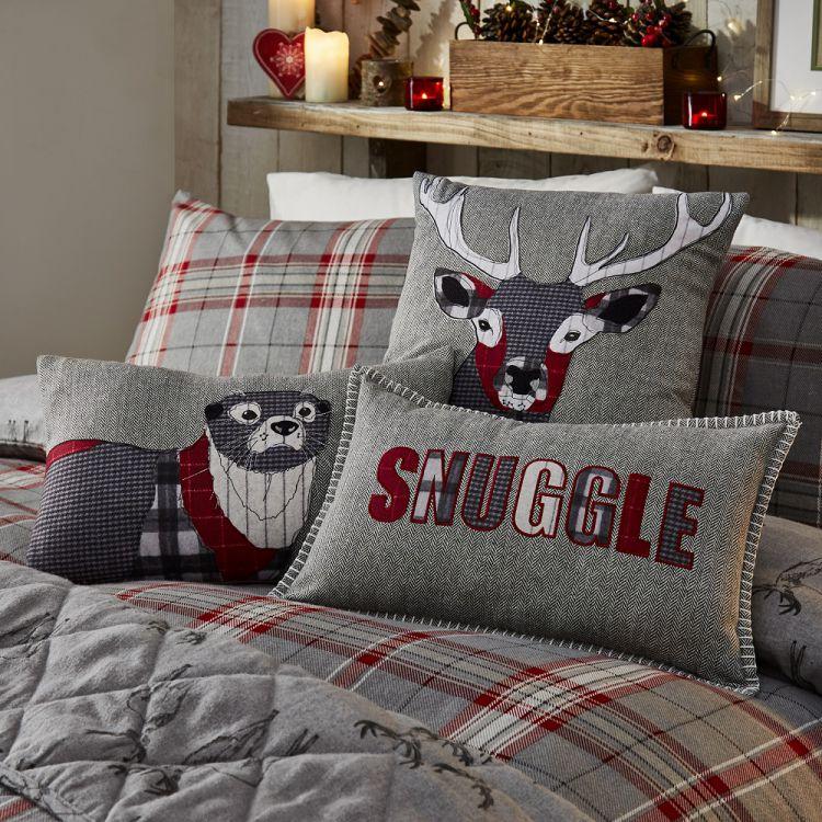 Herringbone Stag Cushion Cover Red Tonys Textiles