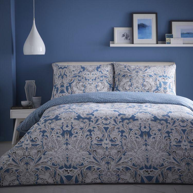 Paisley Reversible Duvet Cover Set Blue Tonys Textiles