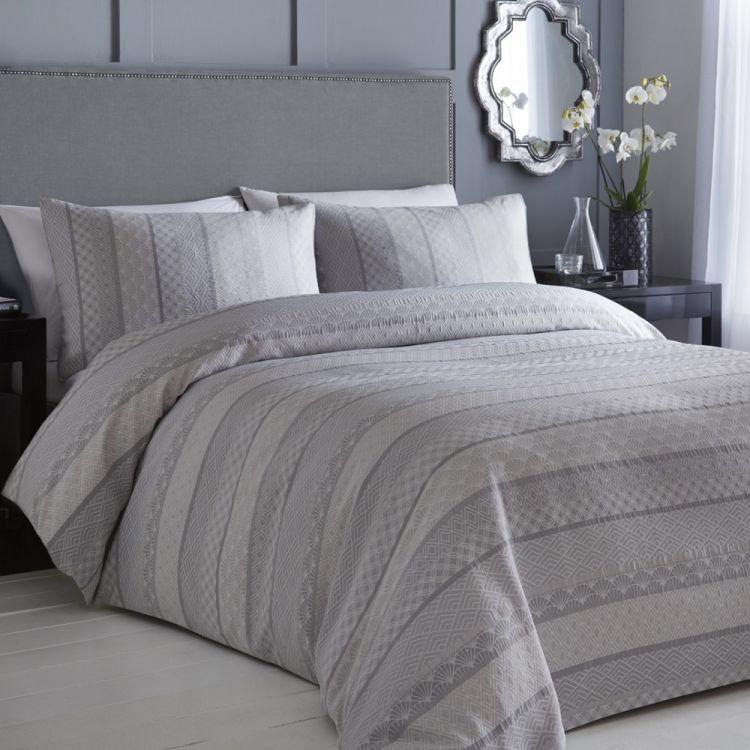 Moriko Jacquard Duvet Cover Set Grey Tonys Textiles