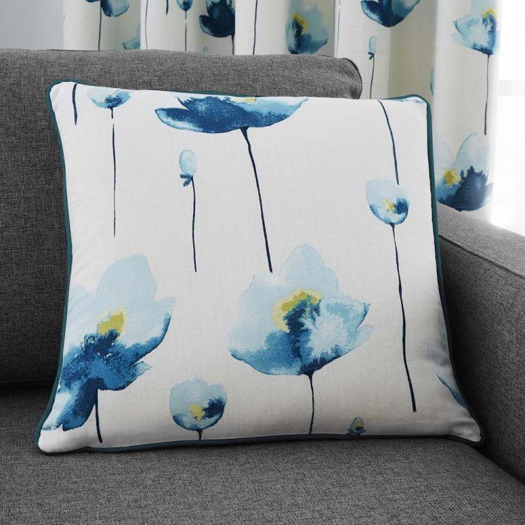 Kiera Floral Cushion Cover Teal Blue Tonys Textiles