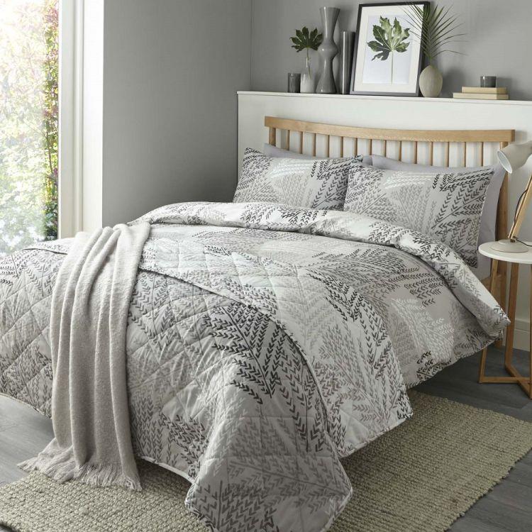 alena leaf print reversible duvet cover set silver. Black Bedroom Furniture Sets. Home Design Ideas