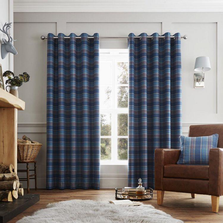Cameron Tartan Fully Lined Eyelet Curtains