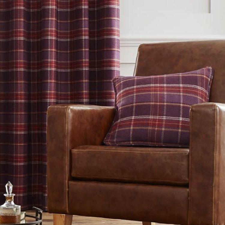Cameron Tartan Cushion Cover Purple Tonys Textiles