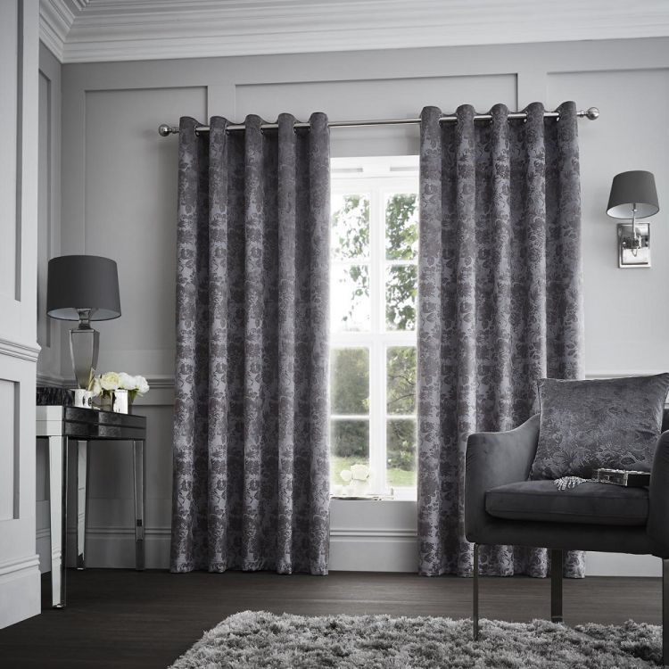 Downton Floral Fully Lined Eyelet Curtains