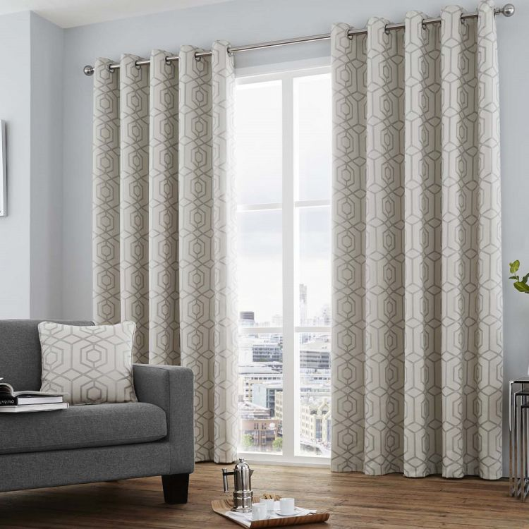 camberwell geometric lined curtains with grommet top gray beige silver ebay. Black Bedroom Furniture Sets. Home Design Ideas