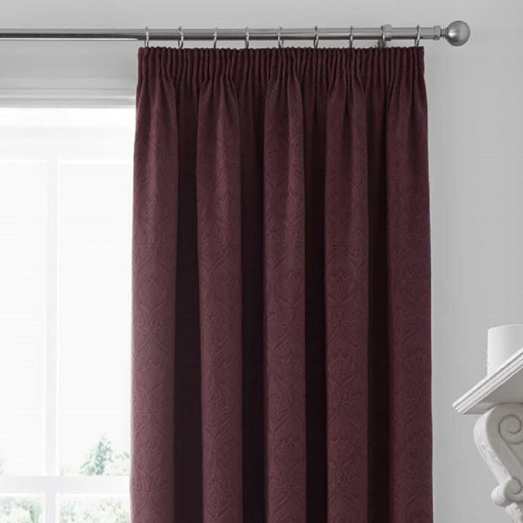 Voysey Damask Fully Lined Tape Top Curtains Ruby