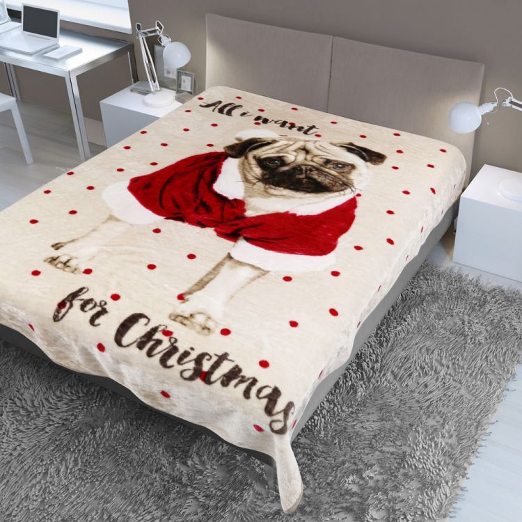 Pug Christmas Mink Fleece Blanket Throw Tonys
