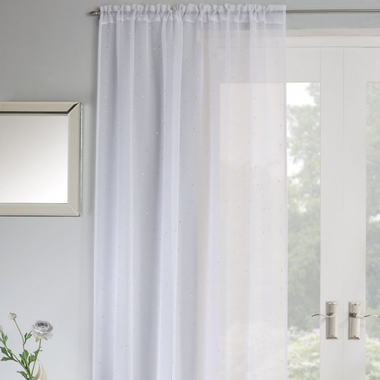 Jewel Sparkle Slot Top Voile Curtain Panel White