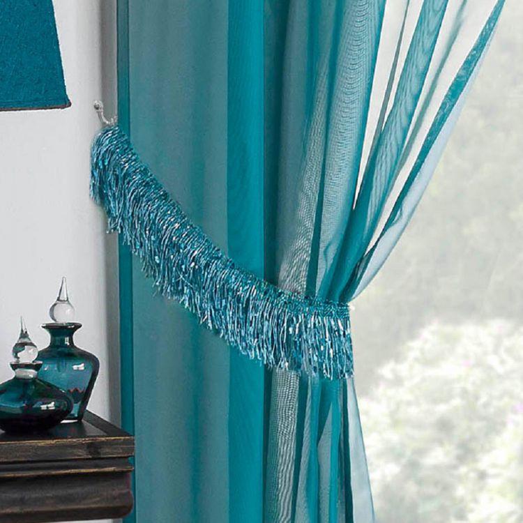Savannah Tassle Tie Backs Teal Blue Tonys Textiles