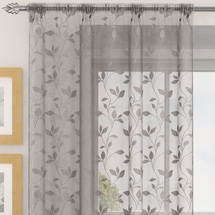 Evie Floral Voile Curtain Panel Grey Tonys Textiles