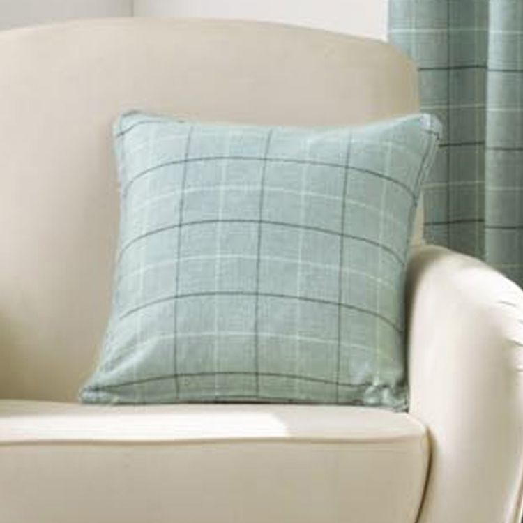 duck egg blue check cushion cover tony 39 s textiles. Black Bedroom Furniture Sets. Home Design Ideas