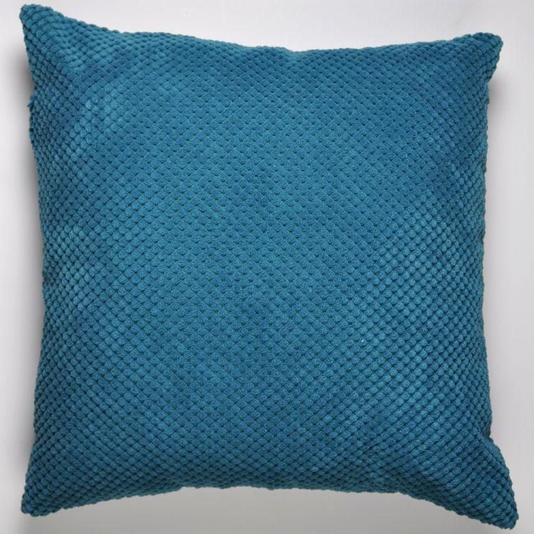 Plain Chenille Spot Cushion Cover Teal Blue Tonys