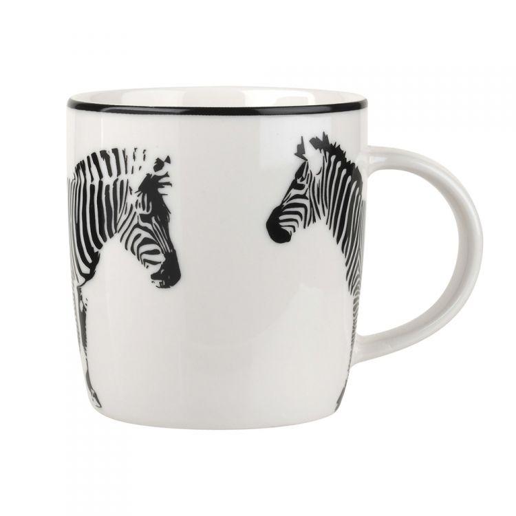 Catherine Lansfield Funky Zebra Mug Set Of Six Black