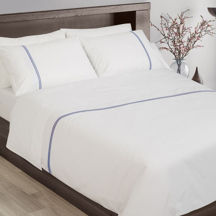 58c63d2593 Hotel Collection 200TC 100% Cotton White Duvet Cover Set With Navy Cord  Stitch. Hover to zoom