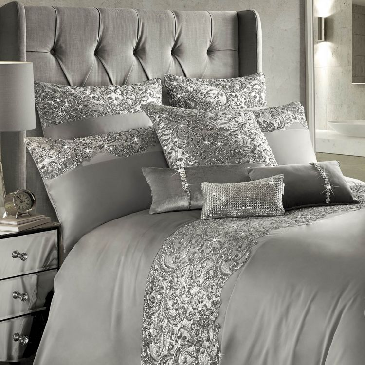 Kylie Minogue Cadence Duvet Cover Set Silver Grey