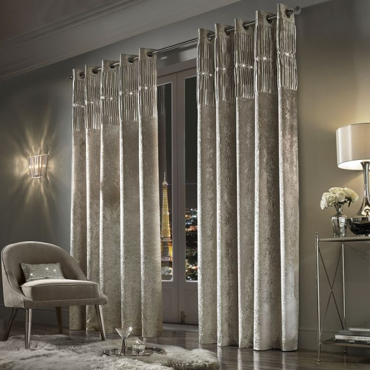 Kylie Minogue Veda Crushed Velvet Curtains Praline