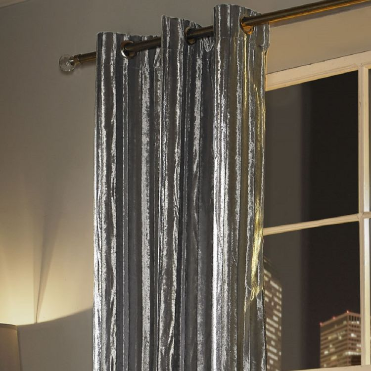 Kylie Minogue Iliana Velvet Curtains Silver