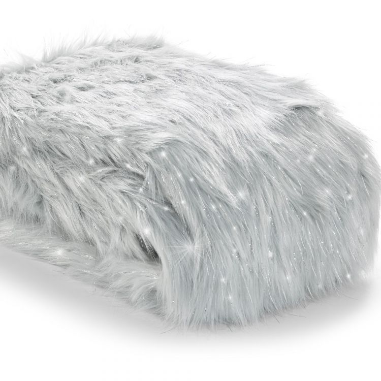 Catherine Lansfield Metallic Fur Throw Silver Grey
