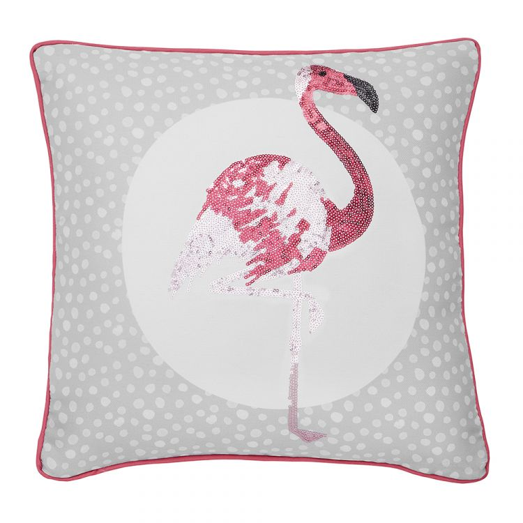 Catherine Lansfield Flamingo Cushion Cover Grey