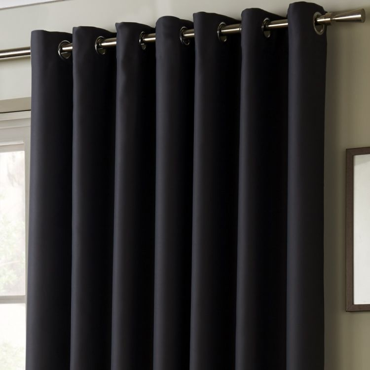 Thermal Lined Blackout Eyelet Curtains Charcoal Grey
