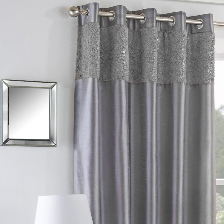 Mongolian Glitter Fur Fully Lined Eyelet Curtains