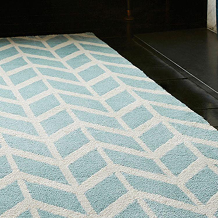 Arlo Geometric Chevron Rug Blue Tonys Textiles