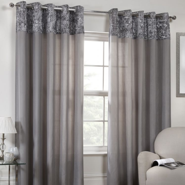 Kensington Crushed Velvet Eyelet Voile Curtains
