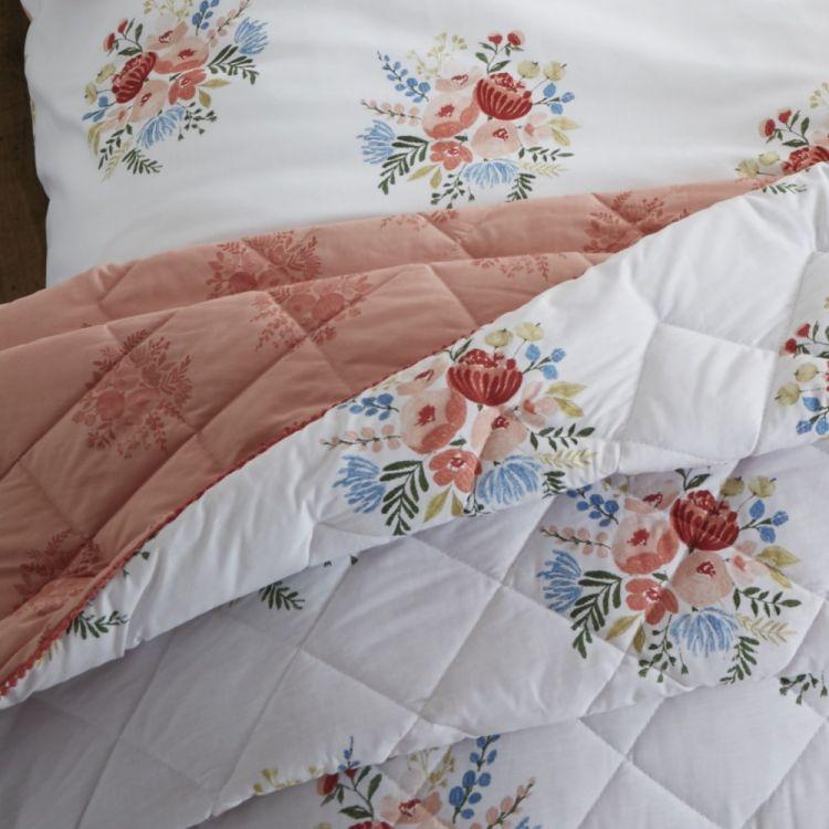 Catherine Lansfield Pom Pom Floral Bedspread Coral